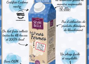 Emballage éco-conçu lait UHT de vache demi-écrémé Sèvre&Belle