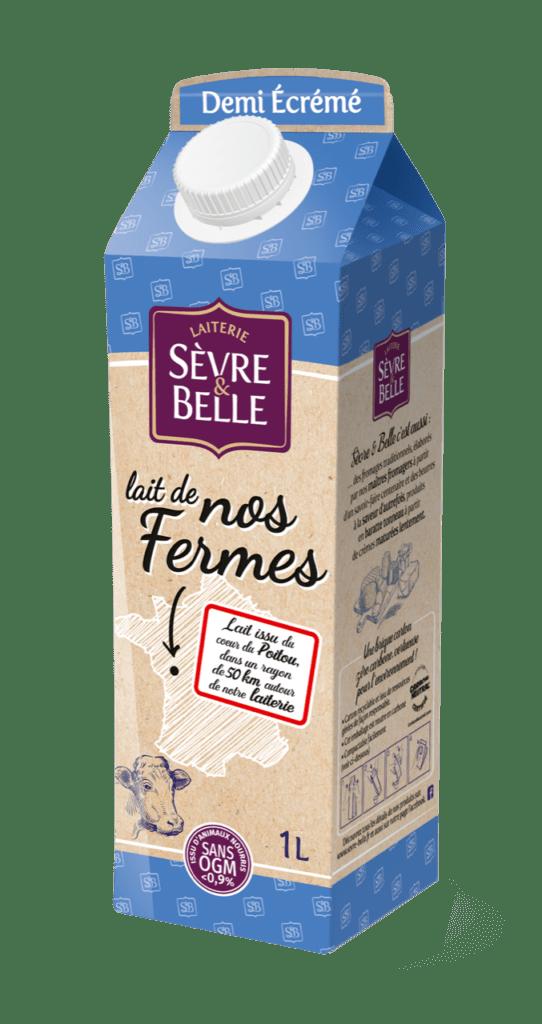 Lait UHT de vache demi-écrémé 1L sans OGM Sèvre&Belle