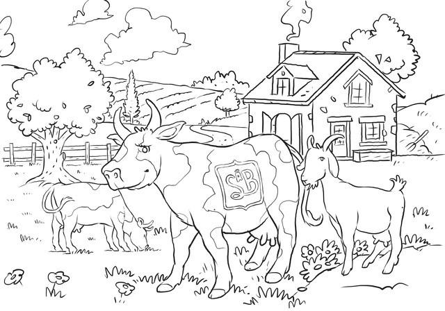 Vache à colorier Sèvre & Belle